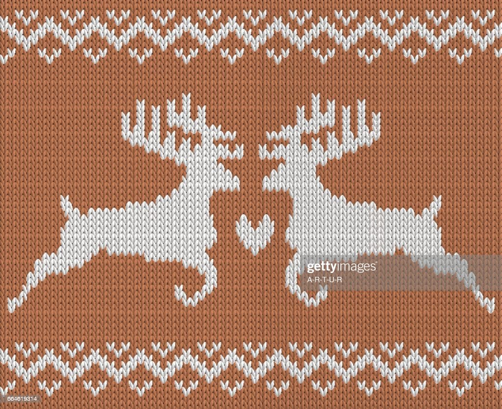 Knitting Pattern With Two Deers And Heart Vector Art | Getty Images