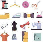 Knitting, sewing and needlework flat icons. Knitting items, sewing equipment