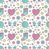 Knitting, sewing seamless pattern. Cute vector flat line illustration of hand made equipment knitting needle, bottons, wool, cotton skeins. Colored background for yarn tailor store. Knitted with love