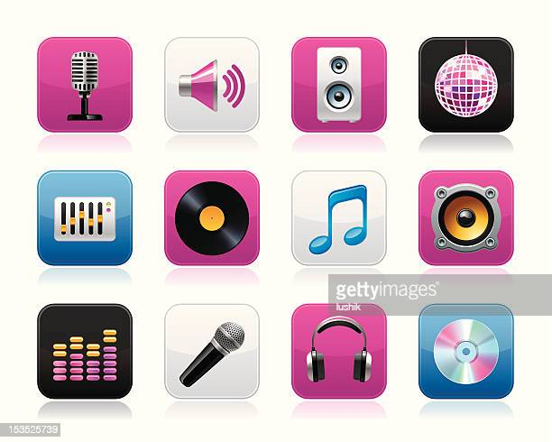 knobico icons - disco - volume knob stock illustrations, clip art, cartoons, & icons