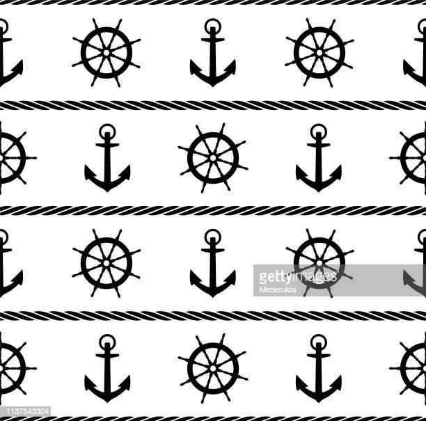 illustrations, cliparts, dessins animés et icônes de corde de noeud - voilier noir et blanc