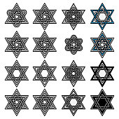 Knoted Israel David stars collection. Vector