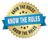 know the rules 3d gold badge with blue ribbon