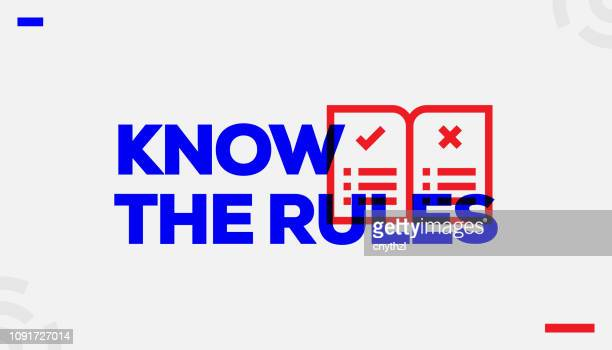 know the rules concept design - instructions stock illustrations