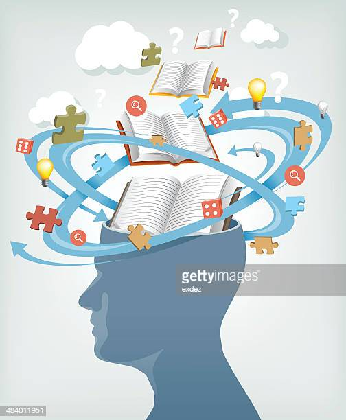knowledge from books - confusion stock illustrations