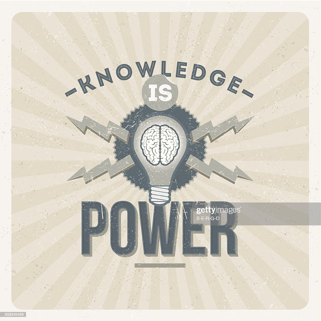 Knowledge is power - quote typographical vintage design