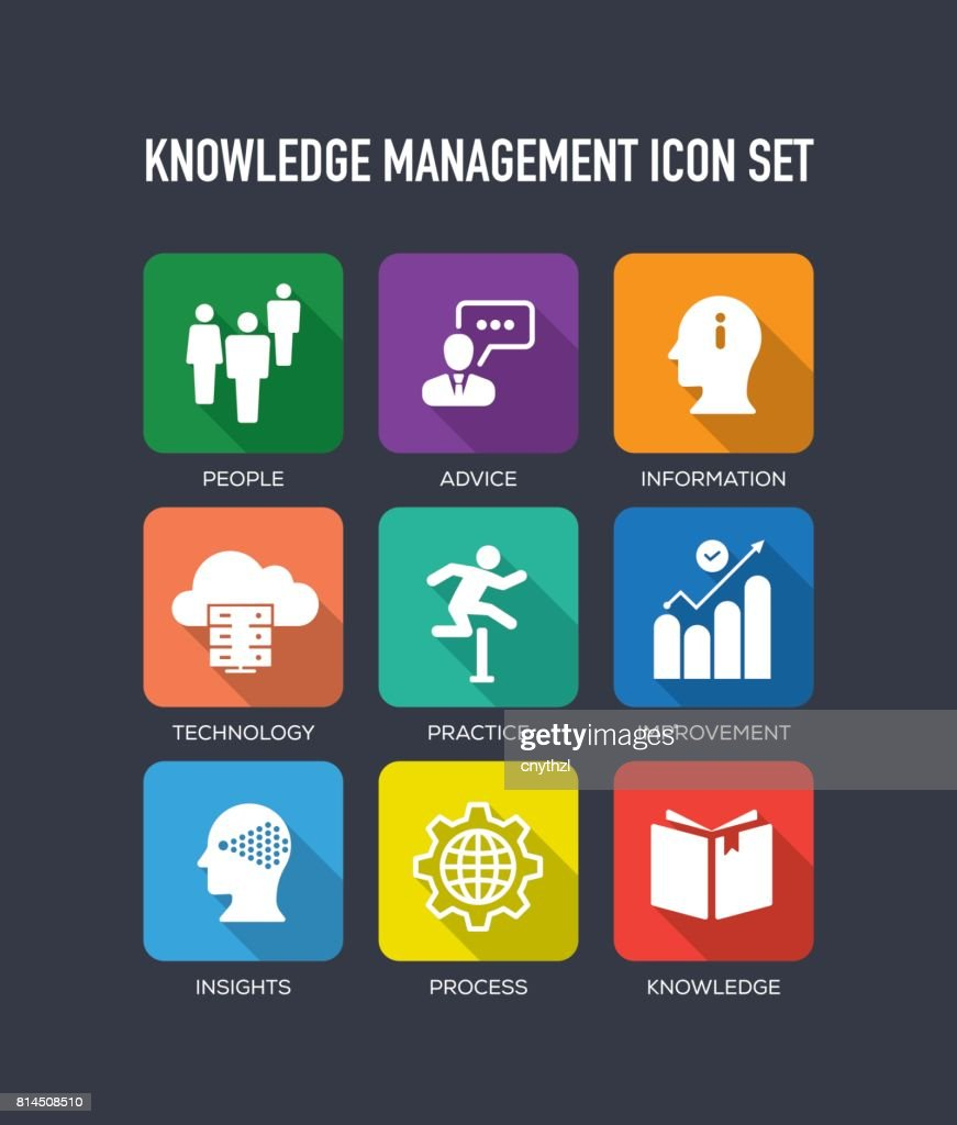 knowledge management flat icon set vector art getty images