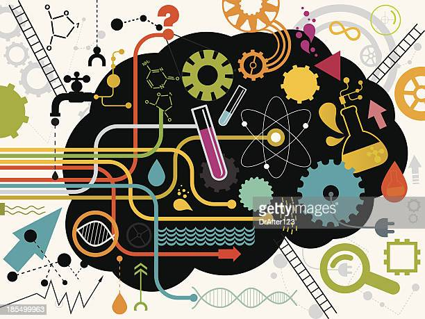 knowledge - science and technology stock illustrations