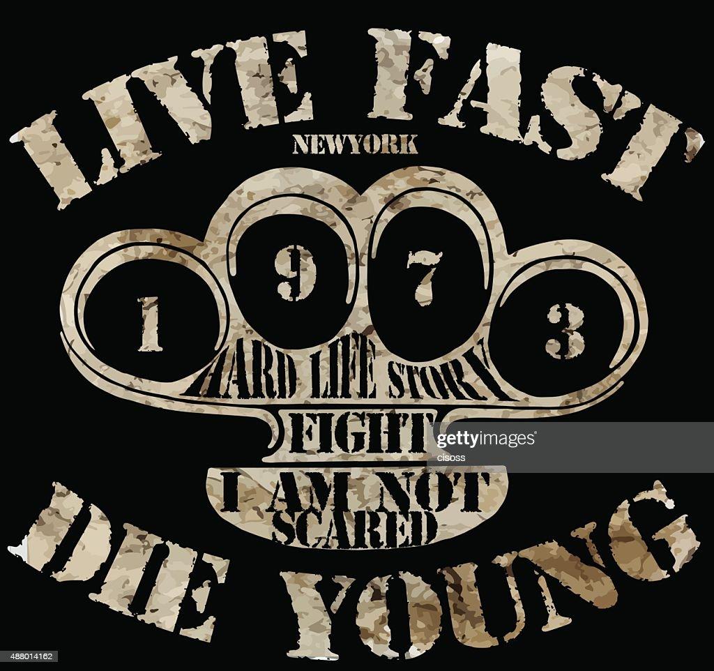Knuckleduster slogan man tshirt graphic design