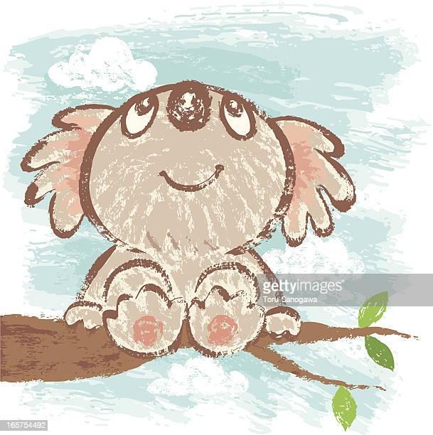 Koala bear that sits on tree