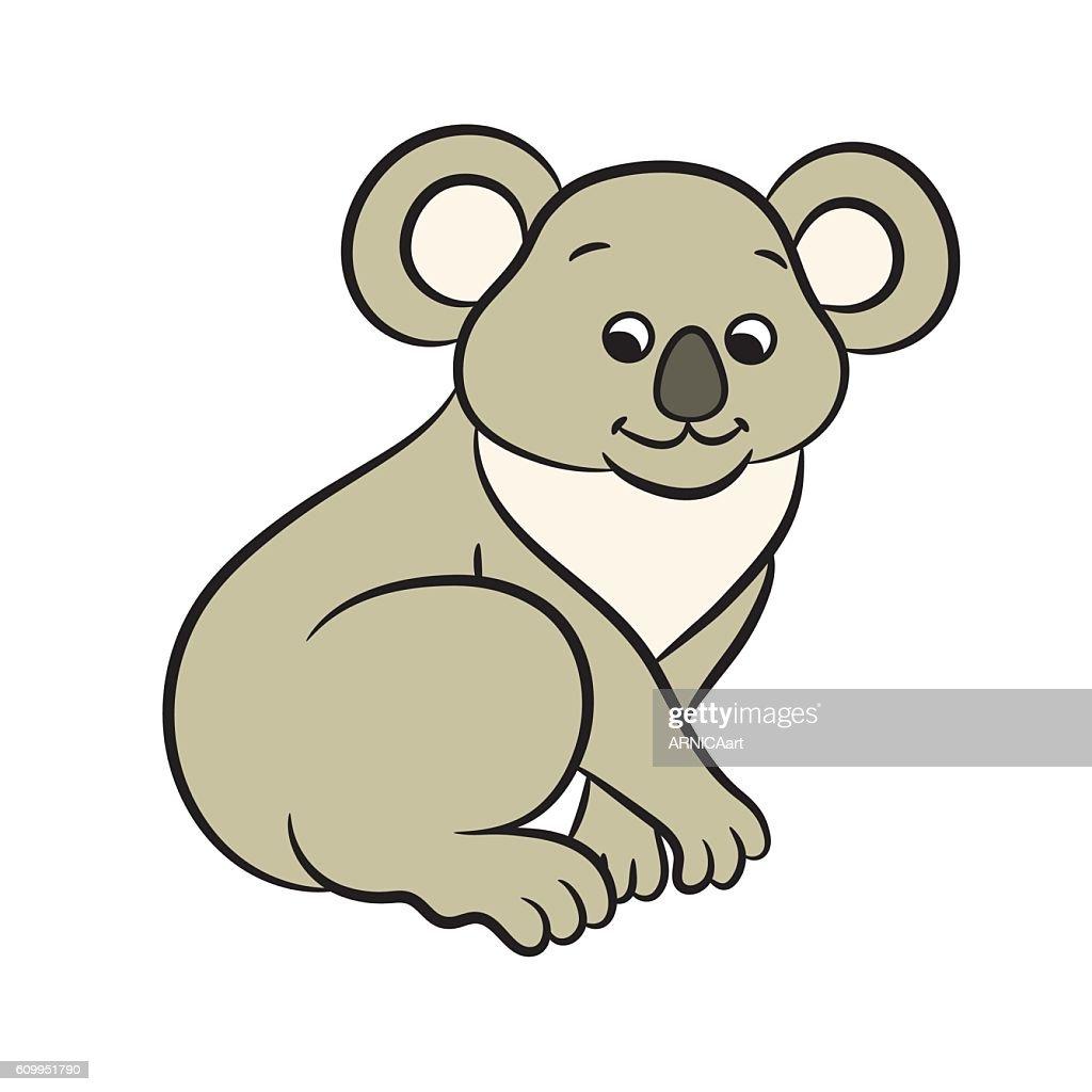 Koala bear vector illustration. Coloring book