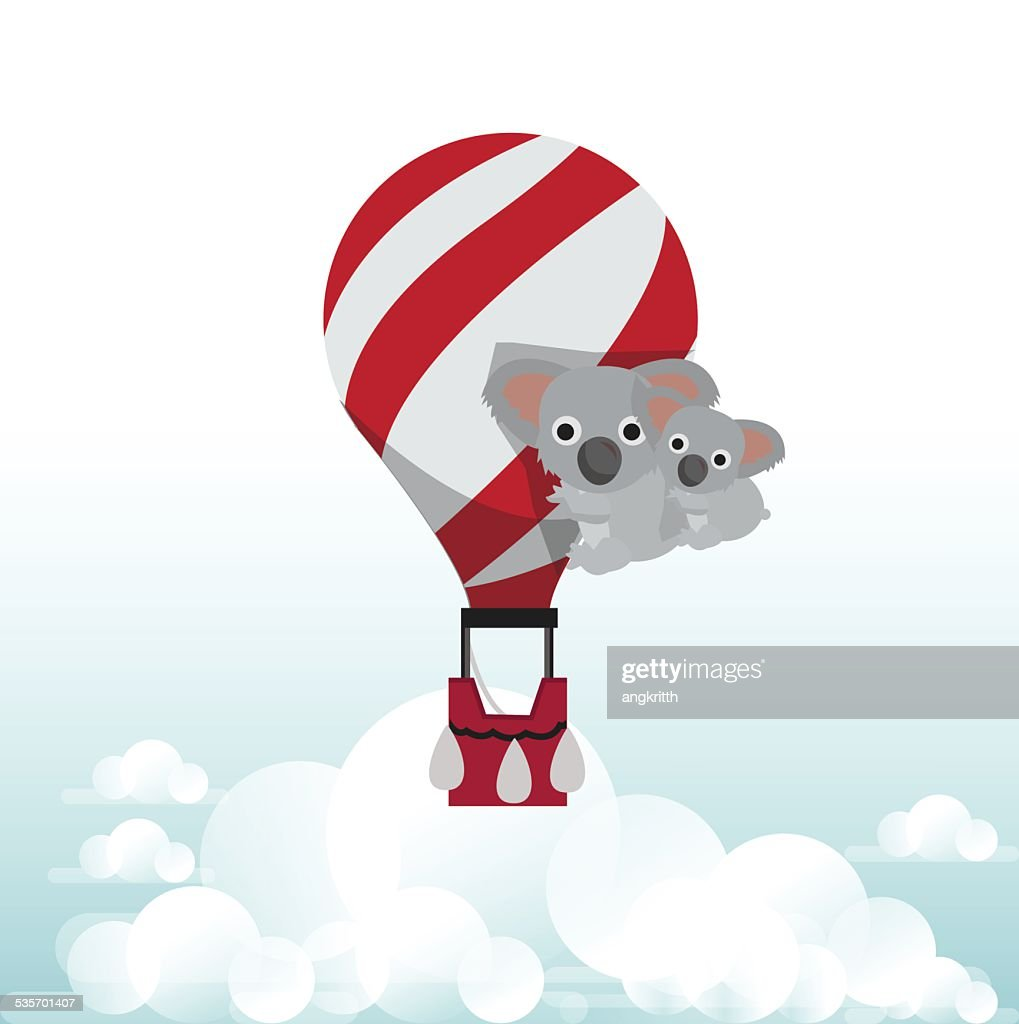 koala bear with balloon - vector illustration