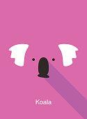 Koala cartoon face, flat animal face icon vector