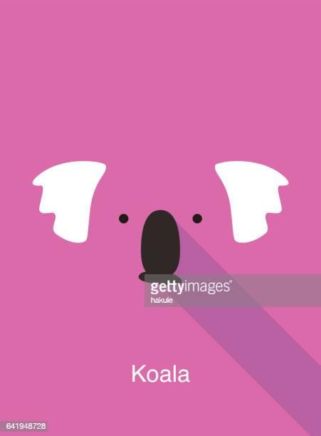 illustrations, cliparts, dessins animés et icônes de visage cartoon de koala, vecteur d'icône visage plat animaux - koala