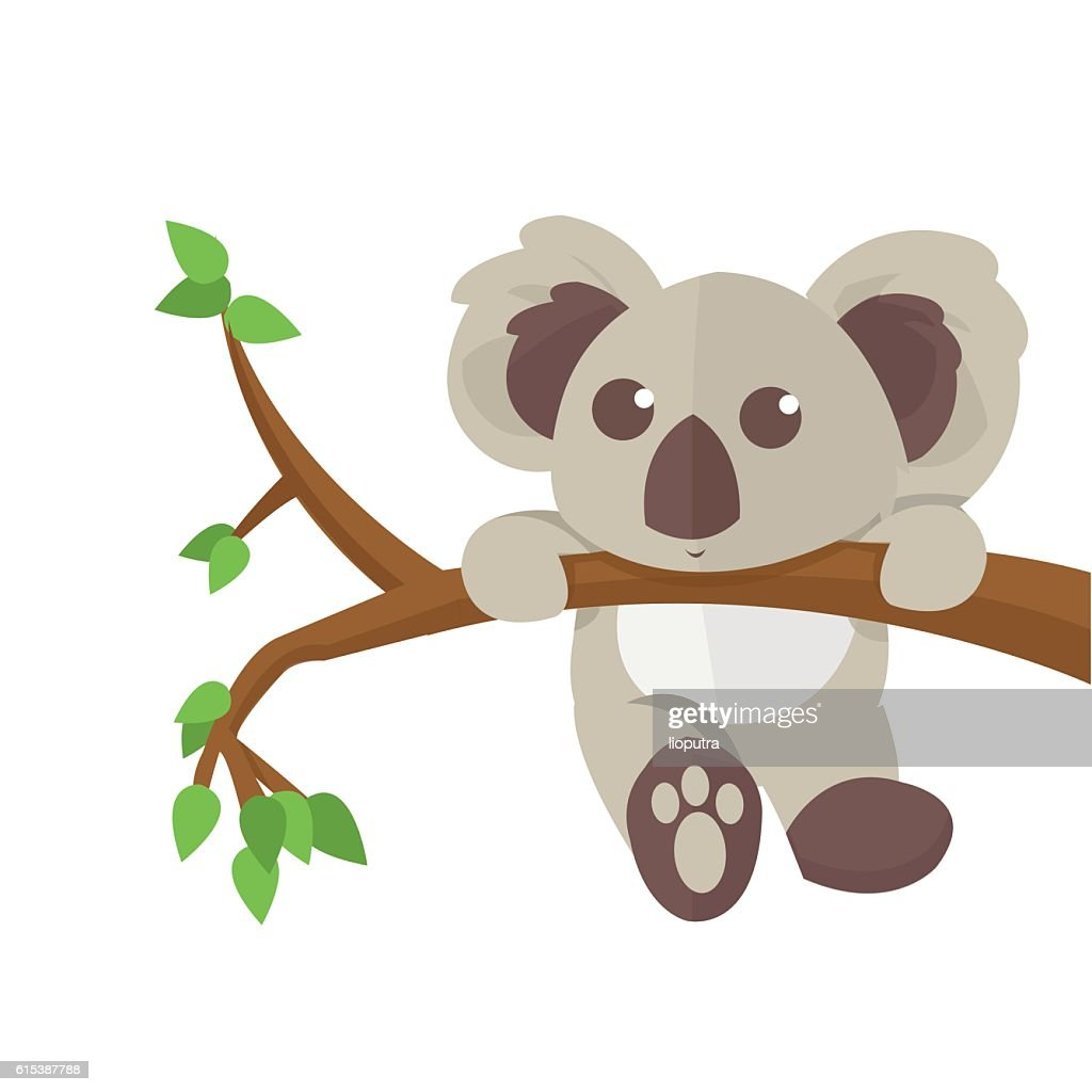 Koala climbing tree animal character.  Vector illustration.