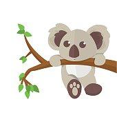 Koala climbing tree animal character.  Vector illustration.
