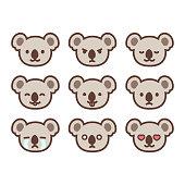 Koala emoticon set