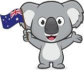 Koala holding australian flag