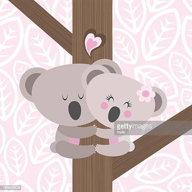 Koala love climbing ilustración vectorial de oso