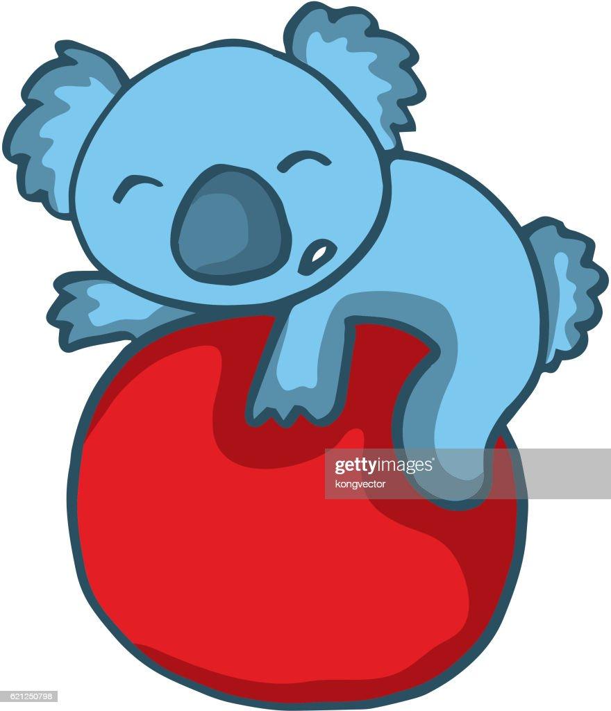 Koala playing big ball cartoon