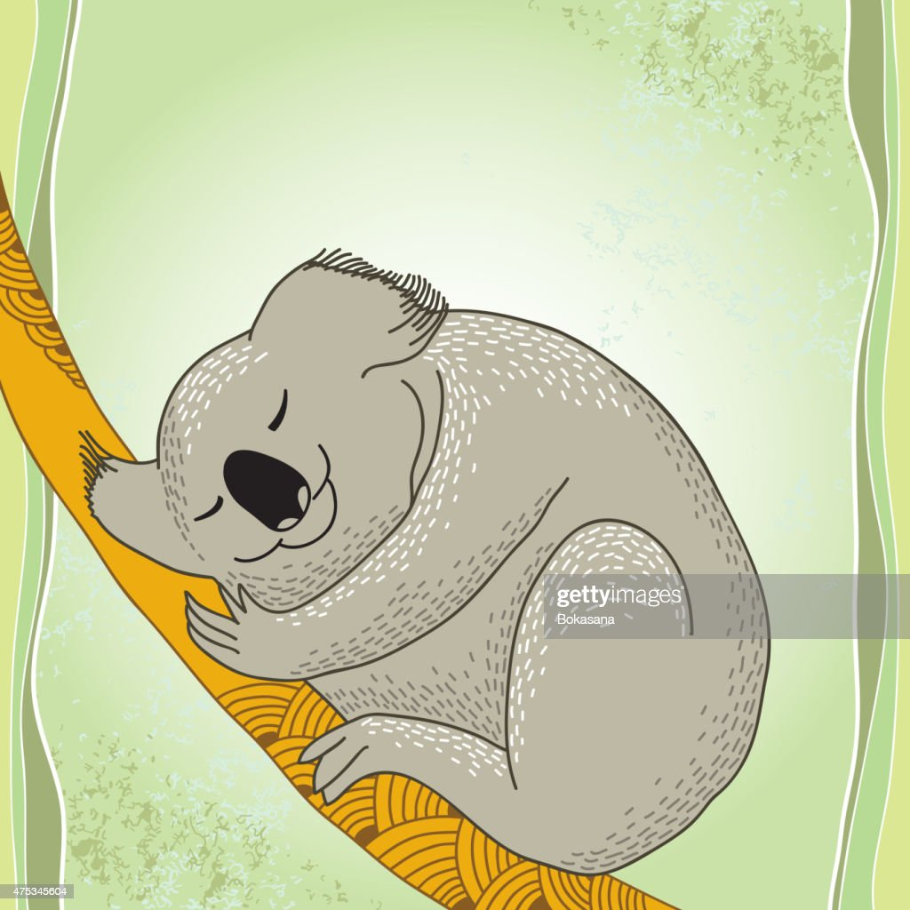 Koala sleeping on the decorative branch
