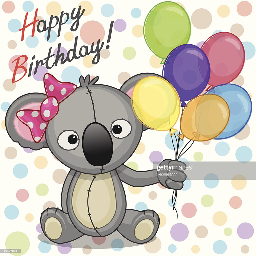 Koala with balloons