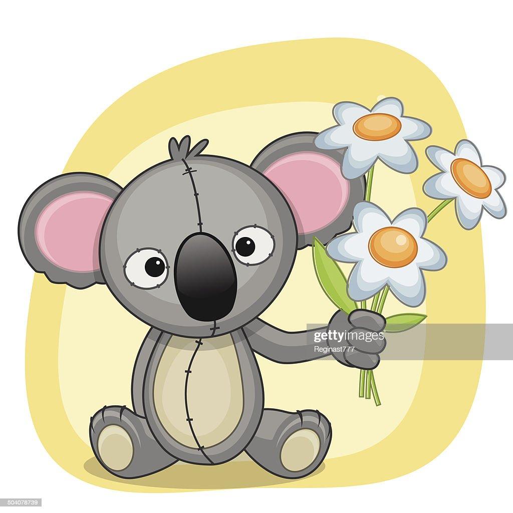 Koala with flowers