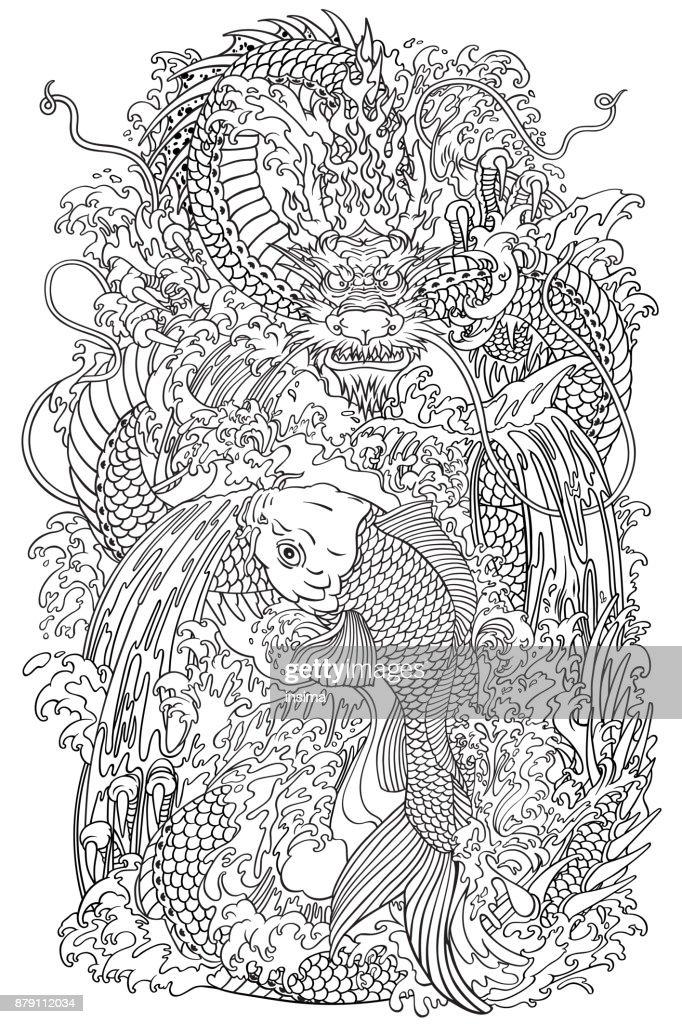 koi and dragon gate outline