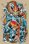 koi carp fish and dragon gate illustration according Asian mythology