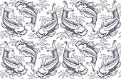 Koi carp seamless pattern (version for white background)