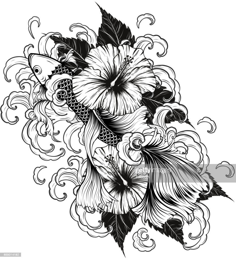 Koi fish and hibiscus tattoo by hand drawing vector art getty images koi fish and hibiscus tattoo by hand drawing vector art izmirmasajfo