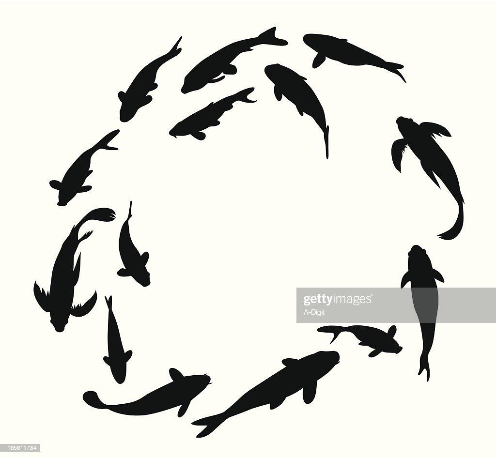 Koi Fish Circle, Symbol Of Strength Vector Silhouette