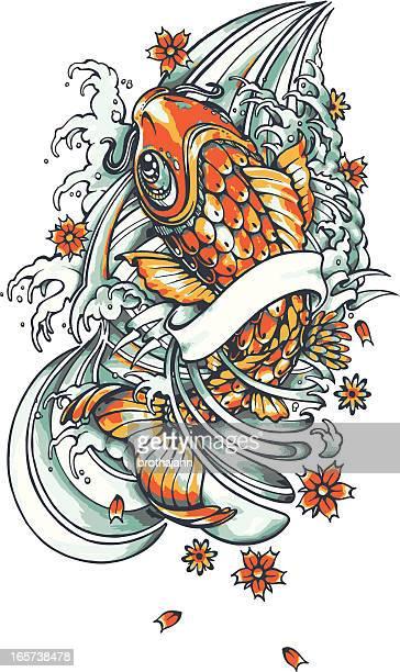 bildbanksillustrationer, clip art samt tecknat material och ikoner med koi fish tattoo - tatuering