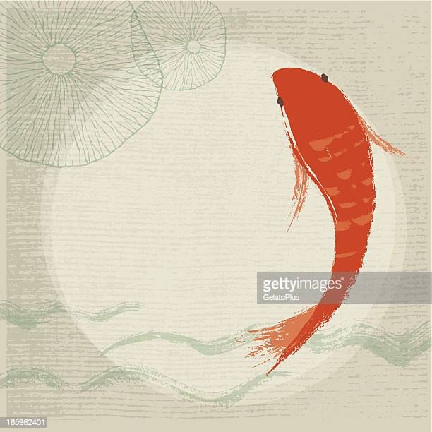 stockillustraties, clipart, cartoons en iconen met koi fish & waterlily background - japan