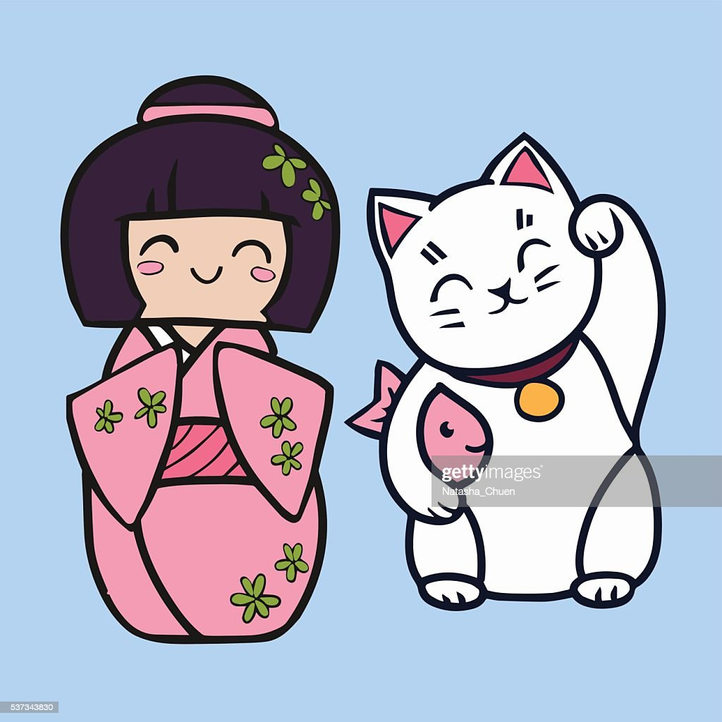 Kokeshi cartoon doll in kimono. Maneki neko cat with fish.