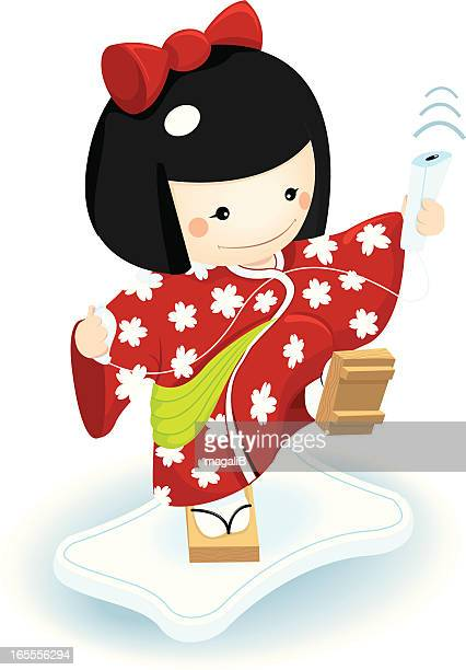 kokeshi playing video games - only japanese stock illustrations, clip art, cartoons, & icons