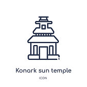 konark sun temple icon from monuments outline collection. Thin line konark sun temple icon isolated on white background.