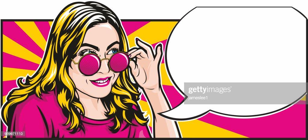 Verrückten Pop-Art Mädchen mit Sprechblase : Stock-Illustration