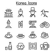 Korea icon set in thin line style