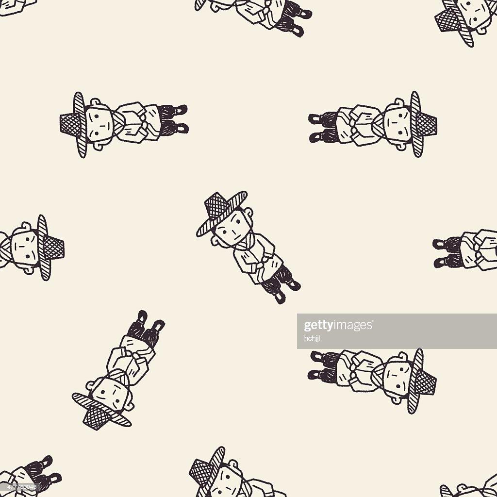 Korea man doodle seamless pattern background