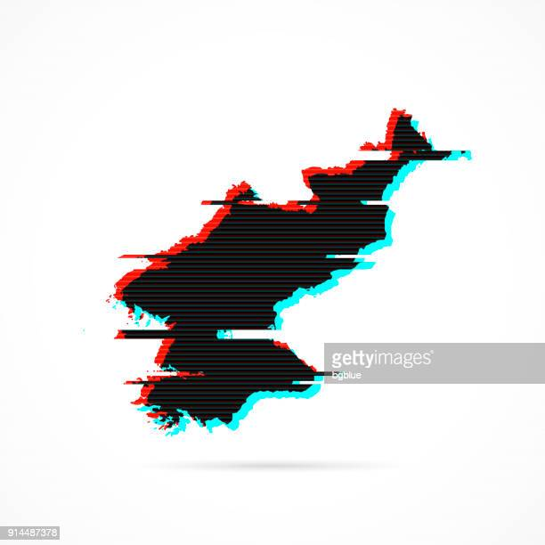 Korea North map in distorted glitch style. Modern trendy effect