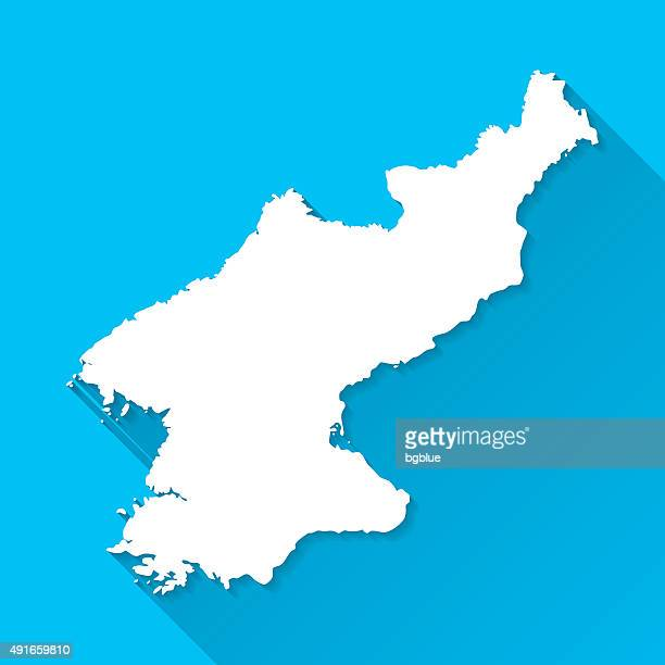 Korea North Map on Blue Background, Long Shadow, Flat Design