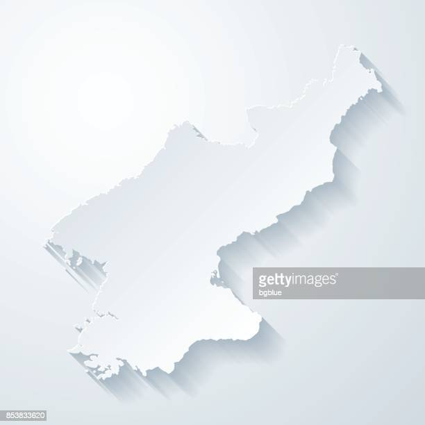Korea North map with paper cut effect on blank background