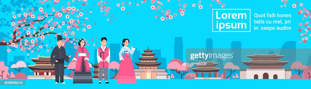 Korea People In Traditional Costumes Over Palace Landscape Sakura Trees South Korean Famous Landmark View