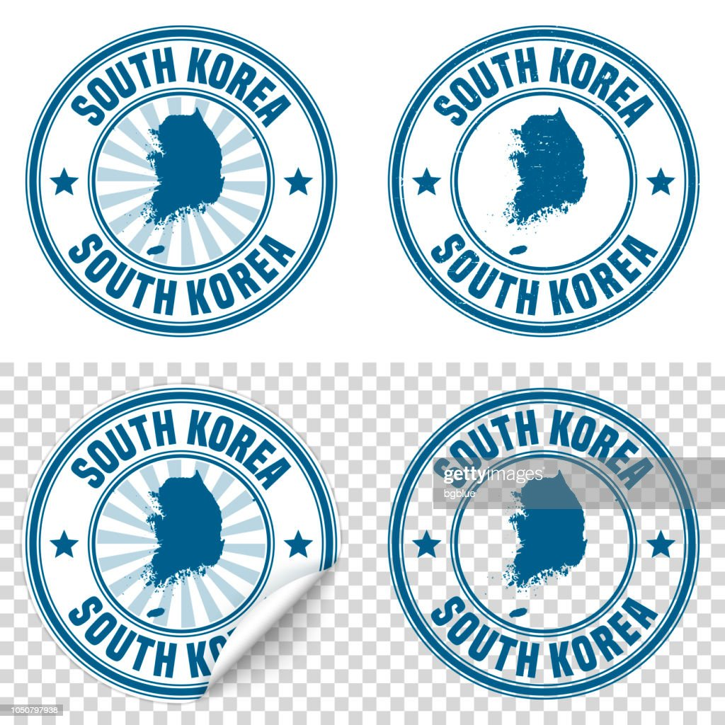 Korea South - Blue sticker and stamp with name and map : stock illustration
