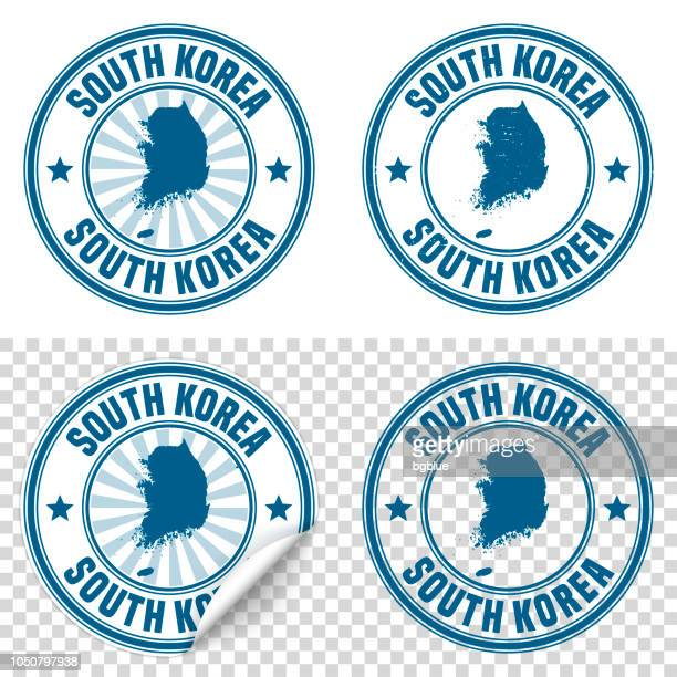 korea south - blue sticker and stamp with name and map - south korea stock illustrations, clip art, cartoons, & icons