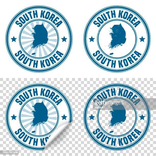 Südkorea - blauen Aufkleber und Stempel mit Namen und Karte