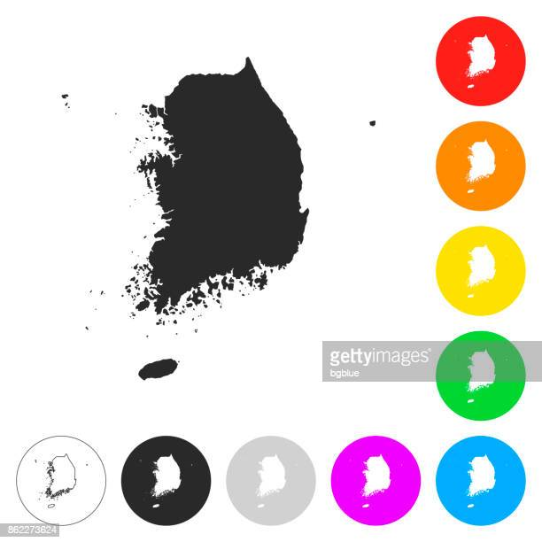 korea south map - flat icons on different color buttons - seoul stock illustrations, clip art, cartoons, & icons