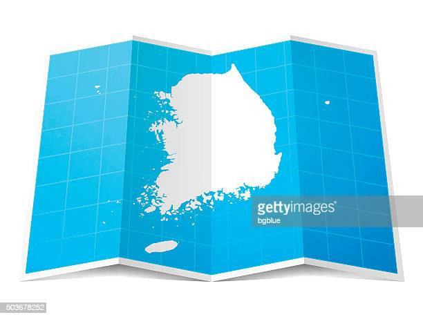 Südkorea Karte gefalteten, isolierten auf weißen Hintergrund