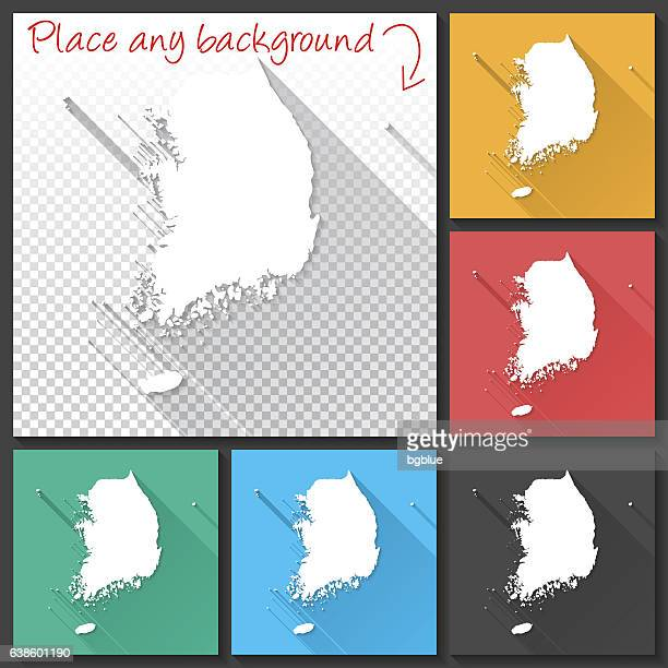 Korea South Map for design, Long Shadow, Flat Design